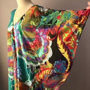 Ralph Lauren Silk Print Caftan Midi Dress XL